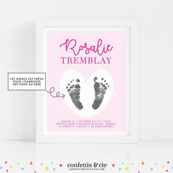 Affiche naissance Bébé fille Affiche souvenir personnalisée