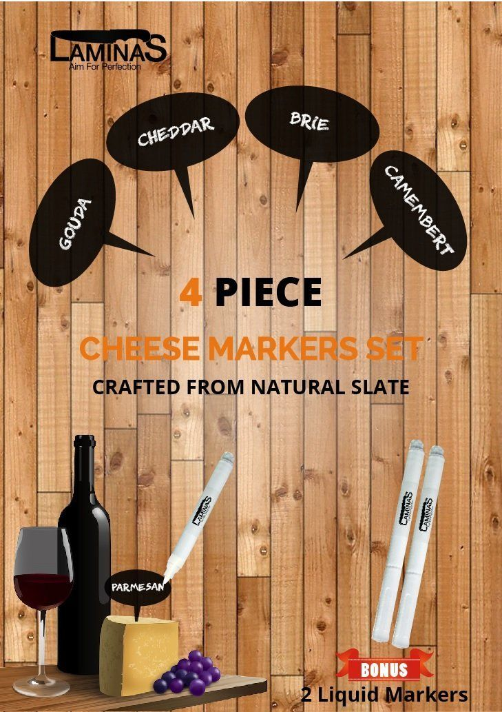 Amazon.com | Slate Cheese Markers - Set of 4 - with Liquid Chalkboard Markers in a Housewarming Premium Gift Box by Laminas: Cheese Servers