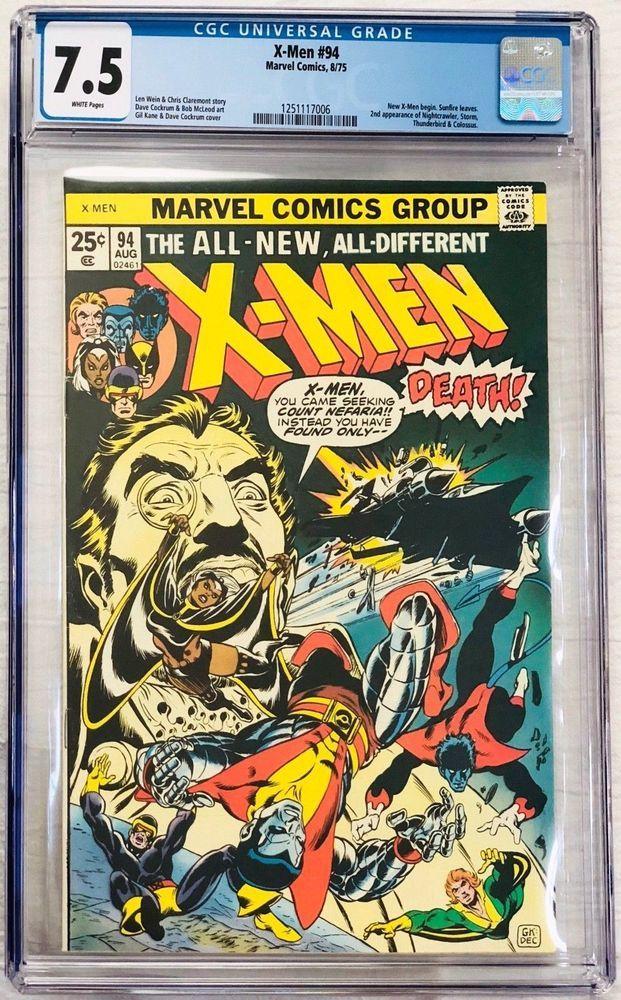X Men 94 Aug 1975 All New Nightcrawler Storm Thunderbird Colossus Cgc 7 5 Vf Rare Comic Books Marvel Comics Covers Comics