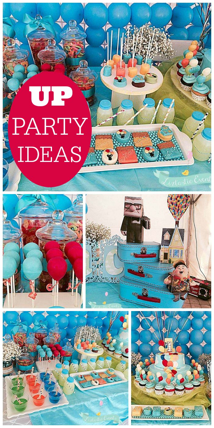 A first birthday party with an UP movie theme and lots of colorful balloons! See more party planning ideas at CatchMyParty.com!