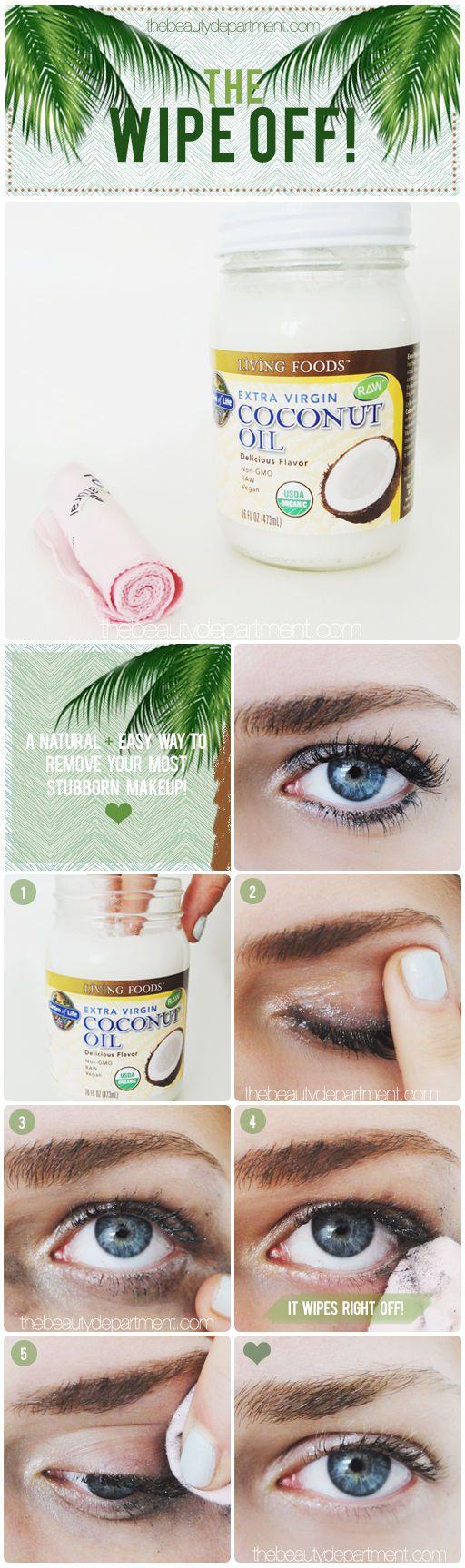 Diese unglaublichen Schönheitstipps musst du unbedingt ausprobieren - DIY wasserfestes Make-up Entferner - Kokosnussöl