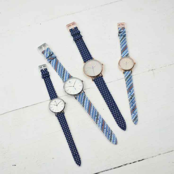 Bracelet en tissu bleu à pois - Charlie Watch