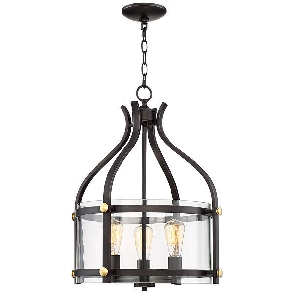 f1c9404db102c Transform a foyer by adding this beautiful pendant light that pairs a wood  finish with seeded vintage-inspired glass.