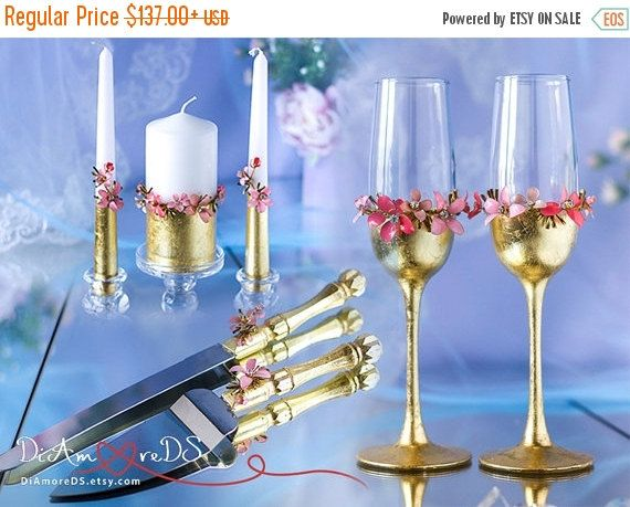 27% OFF SALE Wedding set from the collection Art Flowers, champagne flutes, cake server and knife, coral, wedding unity candles, baby pink &