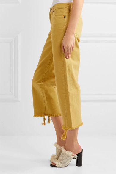 Simon Miller - Salado Cropped Frayed Low-rise Wide-leg Jeans - Saffron - 26