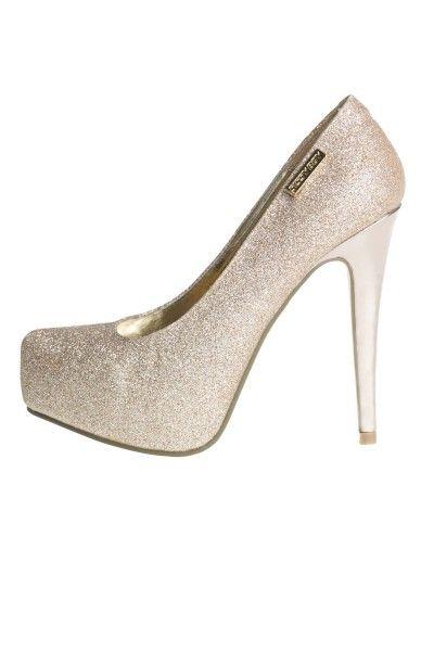 Sissy Boy Gold Glitter High Heel Platform