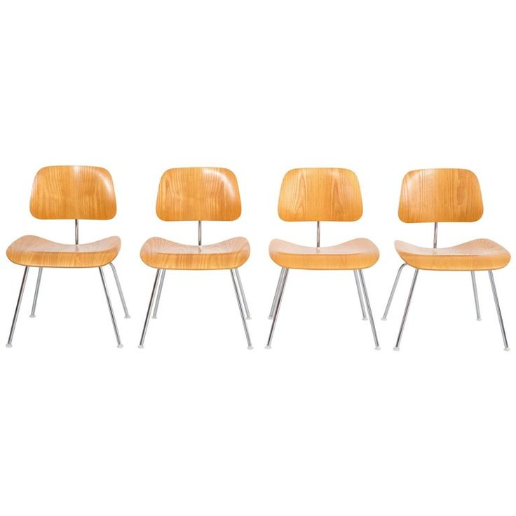 Set of Four Mid-Century Modern Eames Dining Chairs for Herman Miller    $2100 1stdibs.com