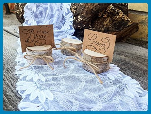 Set of 10 birch place card holders, name card holders, rustic wood card holder, shabby chic, birch card holder, 10 card holders, scandinavian card holders, rustic chic, natural card holders - Wedding table decor (*Amazon Partner-Link)