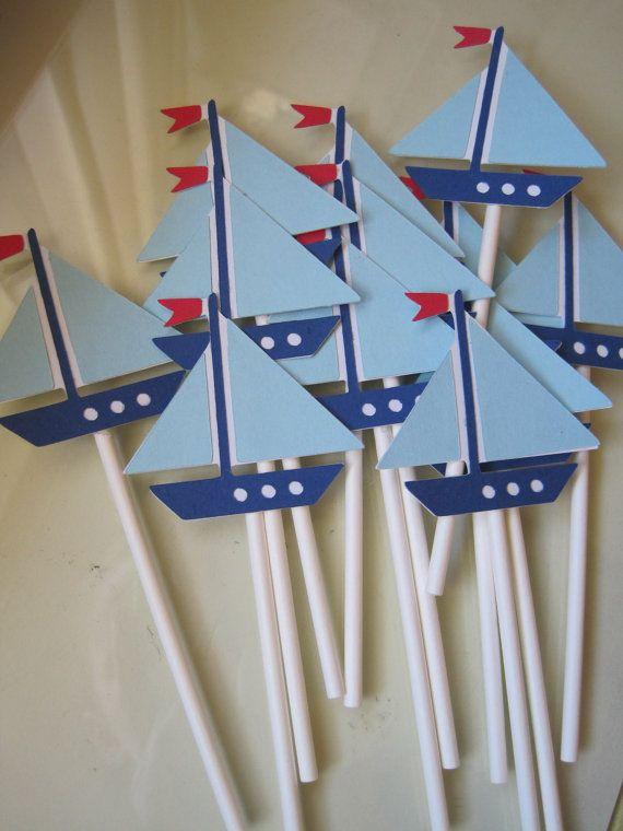 12 Sailboat Cupcake Toppers Boats Cupcake And Sailboat
