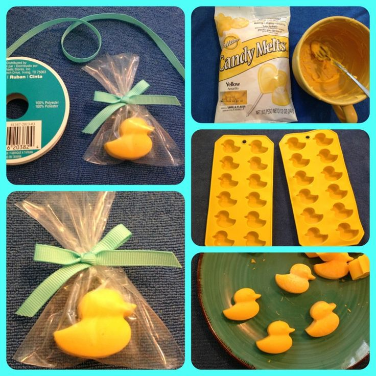 Chocolate rubber ducky favors! Molds from the 99 Cents Only Store, yellow candy melts, cellophane bags and  ribbon from Michael's. One bag of candy melts yields about 24 duckies. #rubberduckies