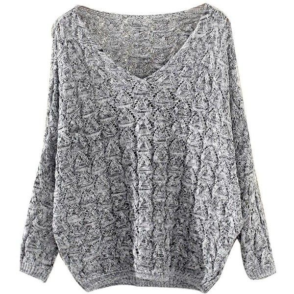 Knit Batwing Sweater Shop Elettra (£24) ❤ liked on Polyvore featuring tops, sweaters, shirts, drape sweater, loose sweater, oversized knit sweaters, batwing sleeve sweater and handknit sweaters