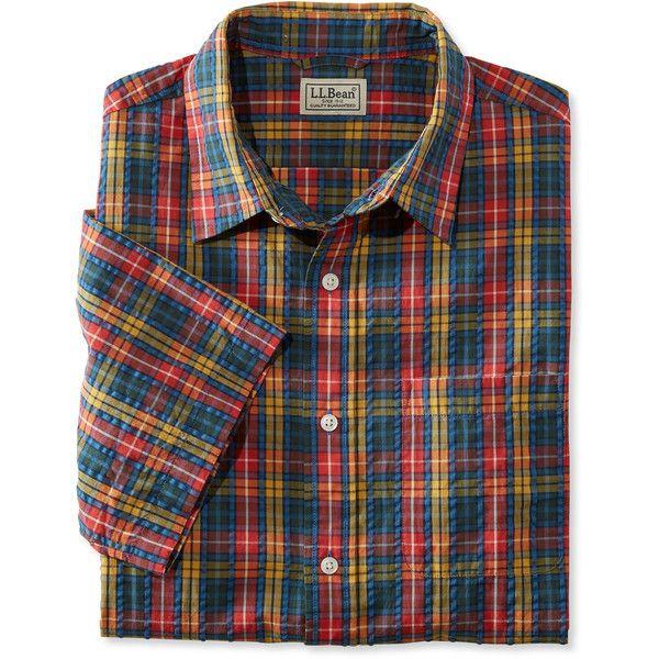 L.L.Bean Tartan Seersucker Shirt, Short-Sleeve Slightly Fitted ($35) ❤ liked on Polyvore featuring men's fashion, men's clothing, men's shirts, men's casual shirts, mens seersucker shirts, mens fitted short sleeve shirts, mens long sleeve casual shirts, mens casual short-sleeve button-down shirts and mens short sleeve shirts