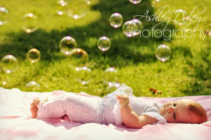 Ashley Daley Photography | baby girl pose, bubbles, 5 month old