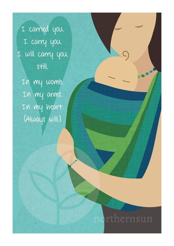 Babywearing Art Poster Print A2 Baby Sling by NorthernSunArtPrints