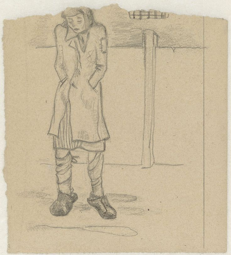 Meisje wacht voor de strafgevangenis in Ravensbrück, Aat Breur-Hibma, 1942 - 1945