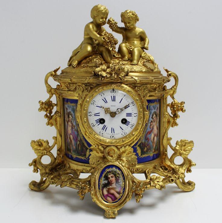 antique clocks | ... C19th Gilt Bronze Ormolu & Sevres Porcelain French Mantel Clock 321