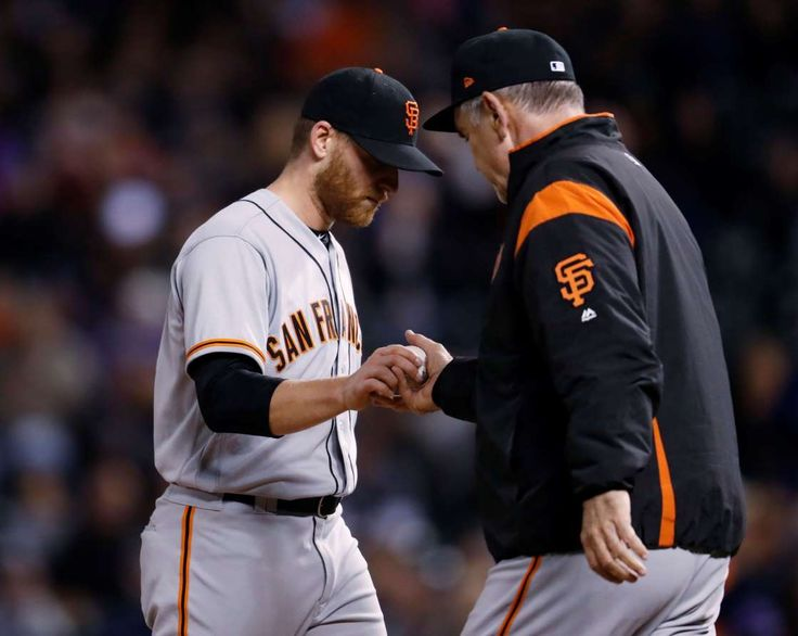 10 Players Primed For Turnarounds   -  April 27, 2017:     Neil Ramirez, Giants  -     San Francisco Giants starting pitcher Neil Ramirez, left, hands the ball to manager Bruce Bochy as he pulls Ramirez after he gave up an RBI-single to Colorado Rockies' Mark Reynolds in the bottom of the eighth inning of a baseball game Saturday, April 22