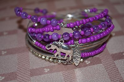 Free shipping Boho Wire Bangles Purple Beads Elephant & feather  Charm Never Worn #freeshipping #bohojewelry