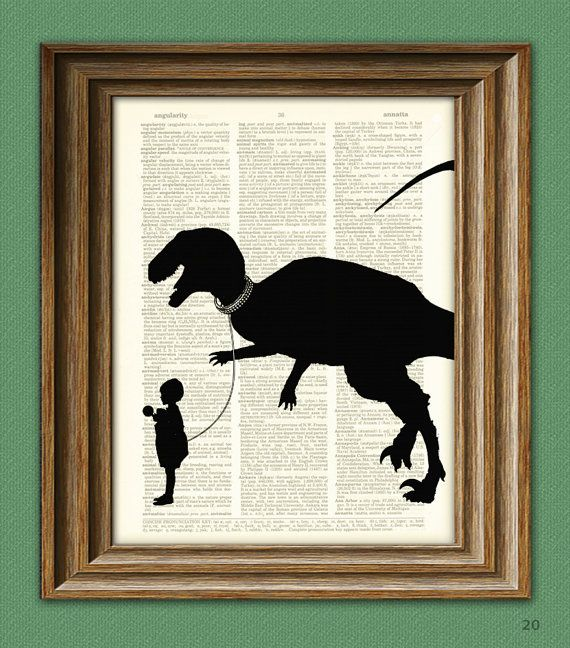 Pet Dinosaur Art Print in Silhouette 'Tyler and Rex' beautifully upcycled dictionary page book art print. $7.99, via Etsy.