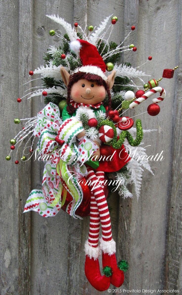 Little Elf Girl Holiday Swag  ~A New England Wreath Company Designer Original~