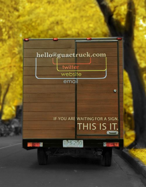 Genius way to use email, twitter and web address in one graphic. Guactruck