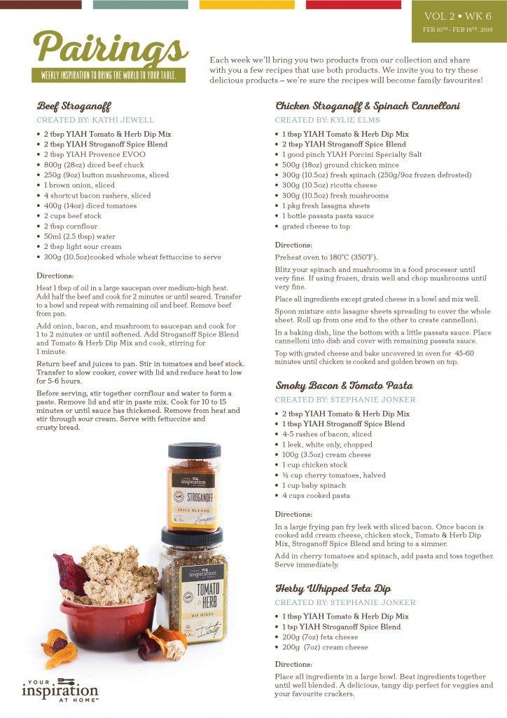 Pairing Recipes!