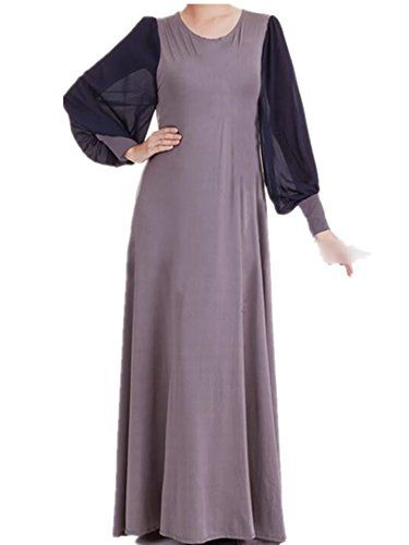 Aro Lora Womens Chiffon Long Puff Sleeve Islamic Muslim Jilbab Kaftan Maxi Dress Grey * You can get more details by clicking on the image.