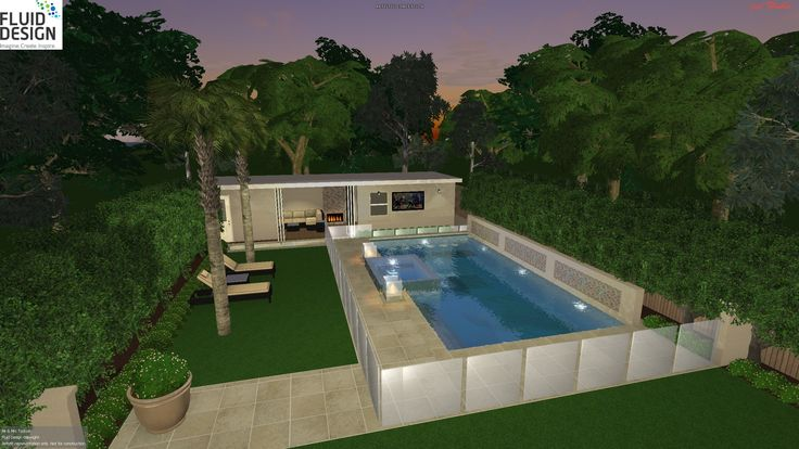 10 x 5m pool w/ raised feature wall & water spouts, raised spa w/ 4 sided wet edge, cabana w/ lounge bar & kitchen.