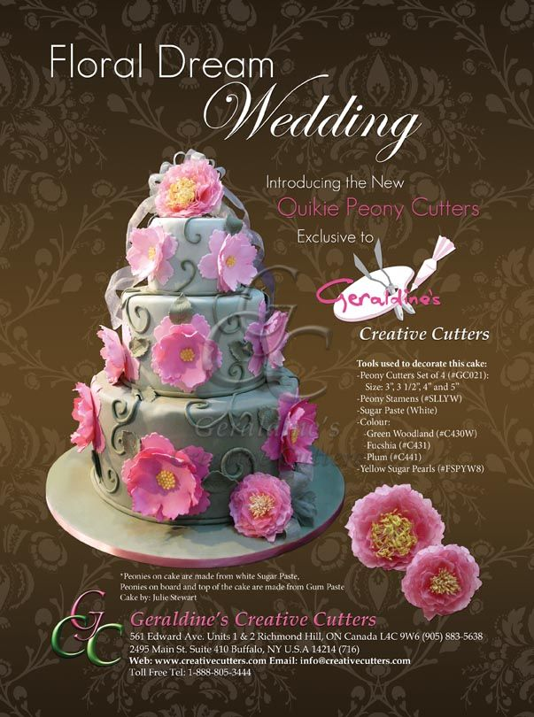 Floral Dream Wedding with our GC021 - Quickie Peony Cutter Set! #wedding #cakes #baking #peonies #flowers Cake made by Geraldine Randlesome from Creative Cutters.