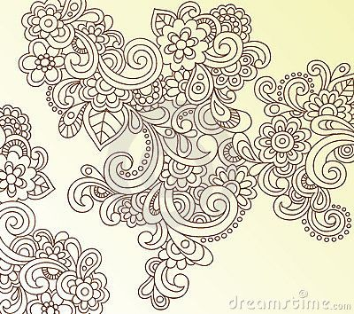 Henna Abstract Paisley Flower Doodle Vector by Blue67, via Dreamstime