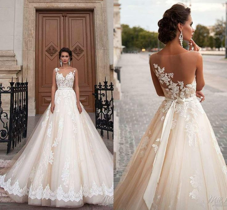 Stunning 2016 Milla Nova Sheer Castle Wedding Dresses Ball Illusion Back Appliques Lace Chapel Train Bridal Gown For Western Style Online with $108.55/Piece on Hjklp88's Store | DHgate.com