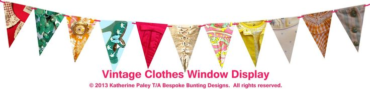 Bunting for shop windows. This design would be great for a vintage store or market stall.