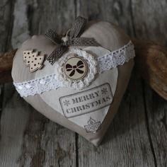 Décoration de noël coeur en tissu style shabby