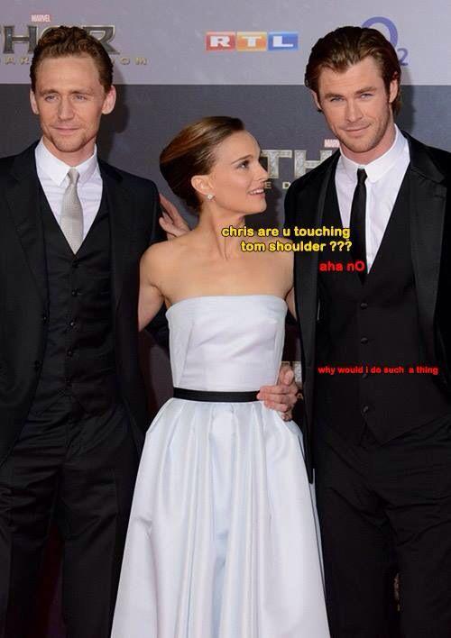 Tom Hiddleston, Natalie Portman, Chris Hemsworth. This is so funny. Chris's face though.