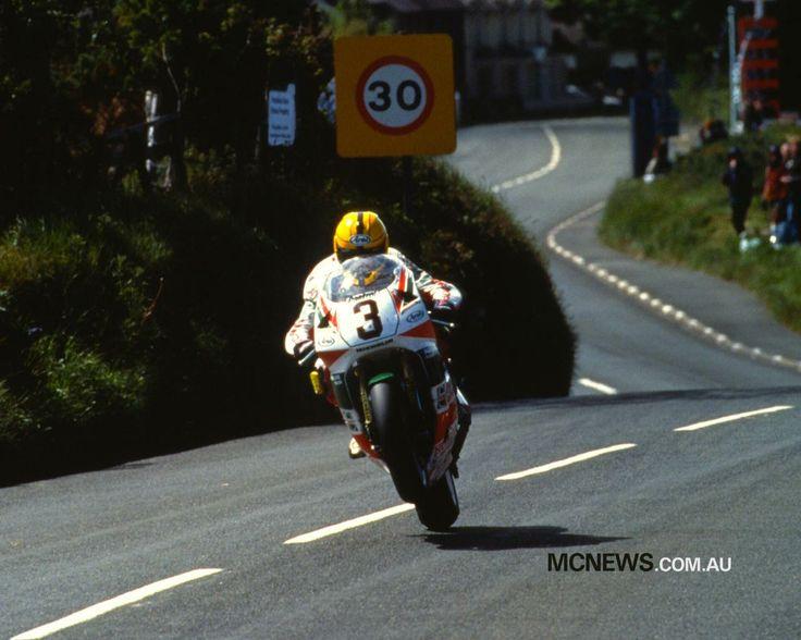 Joey Dunlop wheeling over Bray Hill