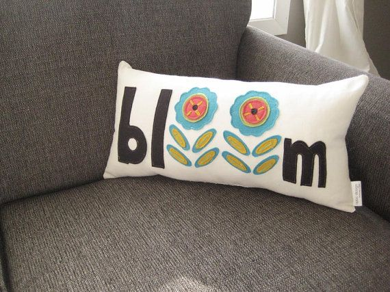 flower pillow / spring pillow / decorative throw by opticdesign