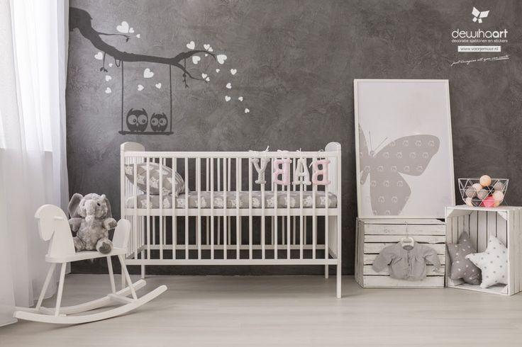 uiltjes met hartejs -  leuke sticker voor op de babykamer