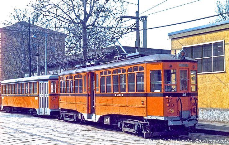 ... tram intercomunale , motrice ATM-46 + vettura - Milano via Valtellina - 13 mar 1990 - © Umberto Garbagnati -