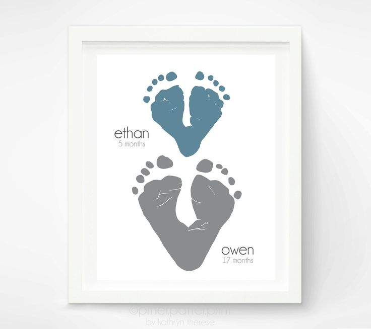 Gift for Grandparents - Footprint Hearts - Personalized Gift for Dad from Kids - Gift for Grandma - Gift for Grandpa. $35.00, via Etsy.