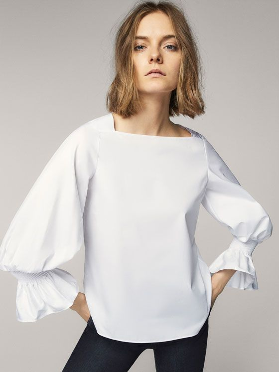 Spring summer 2017 Women´s COTTON SHIRT WITH ELASTIC DETAIL at Massimo Dutti for 89.5. Effortless elegance!