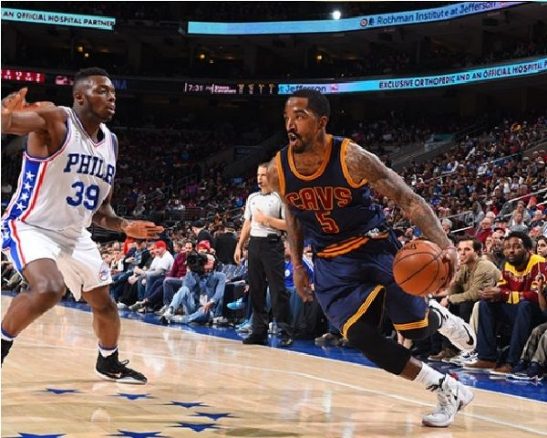 mens cleveland cavaliers 5 j.r. smith 2015 nba final game red road ... f5d89eb88