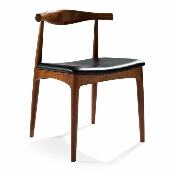 Hans Wegner Elbow Chair (Natural American Walnut / Ink Black Leather)