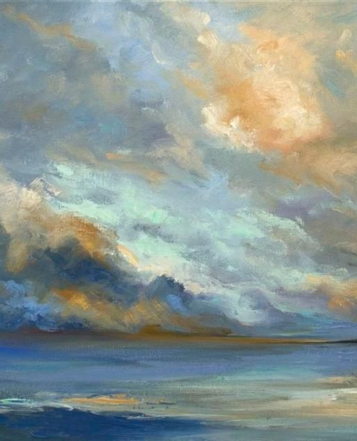 Original art for sale at UGallery.com | April Coastal Clouds by Sheila Finch | oil painting | 16' h x 20' w |