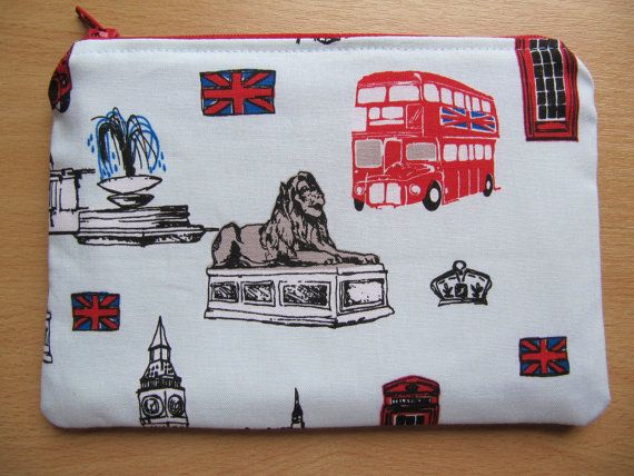 Who Loves London? Make Up Bag Cosmetic Purse British Invasion Blue by BobbyandMeSew.  Pale Blue background.