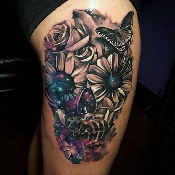 Beautiful Skull Tattoo - Half Black & White - Half Color. Mix of Galaxy and Nature - Just a gorgeous concept.