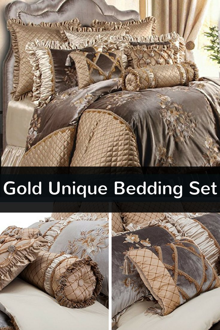 Gold unique bedding sets such as this one is truly beautiful. Just look at all the plush blankets and pillows that you could literally get lost in. Your master bedroom will look absolutely spending with this true luxury unique bedding set. This comes in both king and king sizes and is truly premium bedding. Great also for lavishing a guest bedroom.  This bedding would look fantastic in contemporary and Victorian style homes.  #gold #bedding