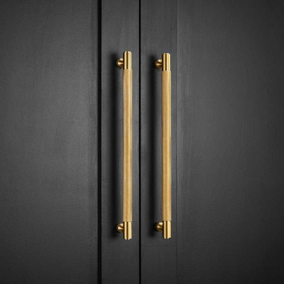 Solid Brass Gold Knurled Door And Drawer Bar Handles Wardrobe