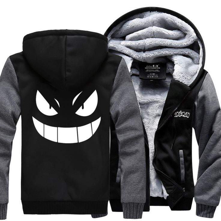 Pokemon Gengar Thick Winter Zipper Anime Hoodie