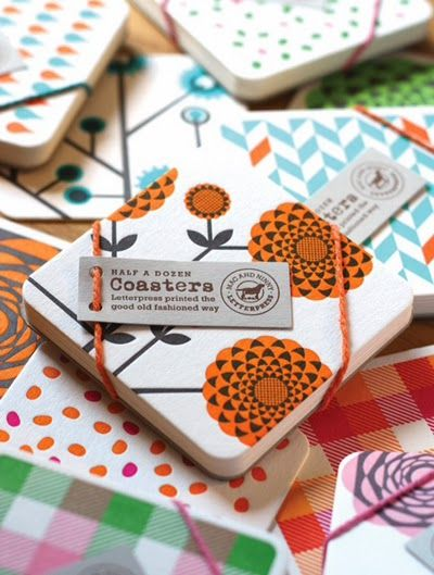 Mac & Ninny have just launched some great new products and designs for Spring, all printed using their new vintage Heidelberg windmill letterpress machine which was manufactured in 1962. The cards and coasters (packs of half a dozen) feature funky designs including geometric flowers, old school ice creams, bow ties, chevrons and tartan. The Letterpress process and the fact that they are printed by hand gives them a very authentic and touchy-feeling finish.