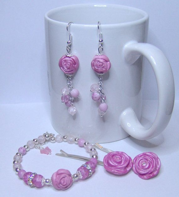 PINK ROSE   Earrings Hairpins Bracelet by 1000and1 on Etsy, €12.00
